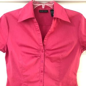 NY & Co. Button-Down Classic Stretch Ruched Blouse